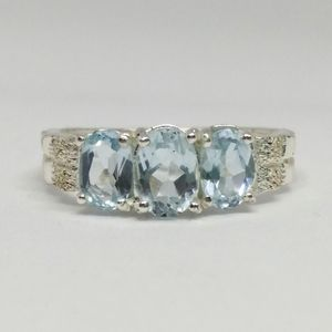 Blue Topaz Sterling Silver Three Stone Ring
